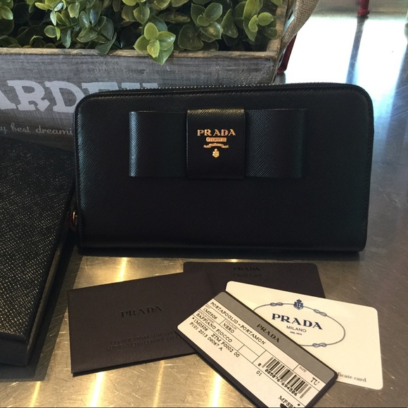 fb07627c287056 PRADA Accessories   Nib Black Saffiano Zipper Around Wallet   Poshmark